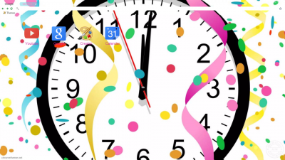 new year clock with glitter