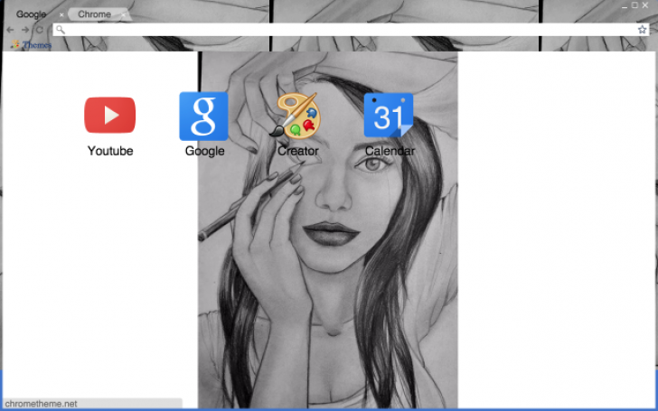 Drawing Of A Girl Drawing On Her Eyes Chrome Theme Themebeta