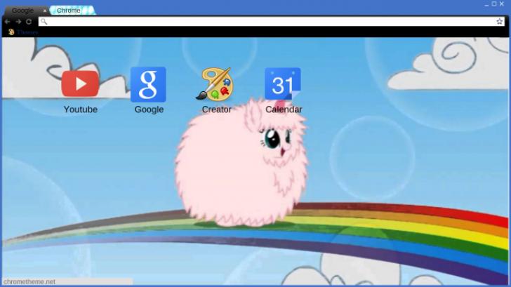 Pink fluffy unicorn dancing on rainbow Chrome Theme - ThemeBeta