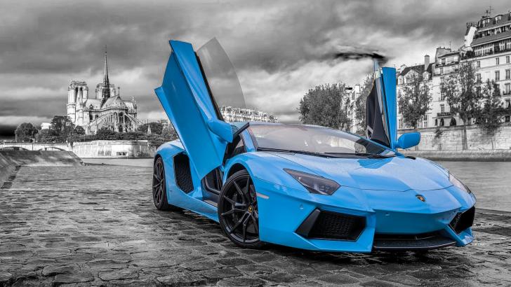 lamborghini aventador cyan - Lamborghini Aventador Blue Chrome