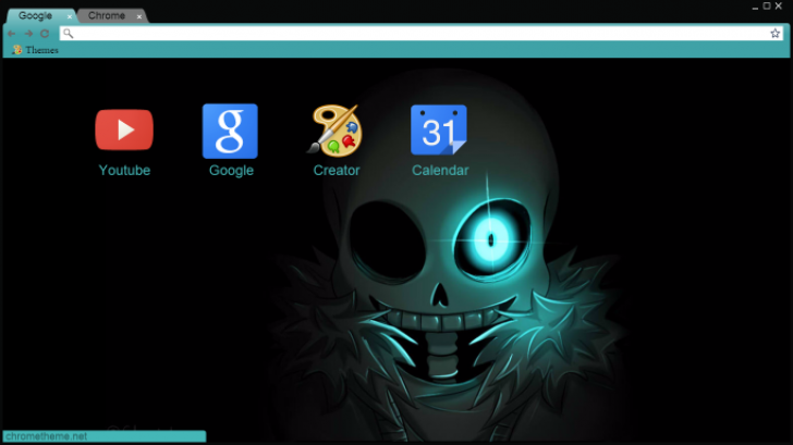 SANS glowing blue eye Chrome Theme - ThemeBeta
