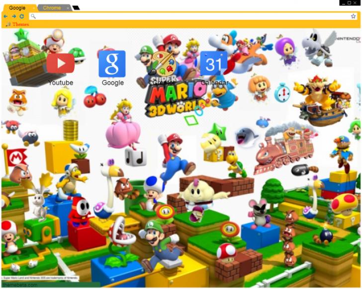 SUPER MARIO 3D WORLD Chrome Theme - ThemeBeta