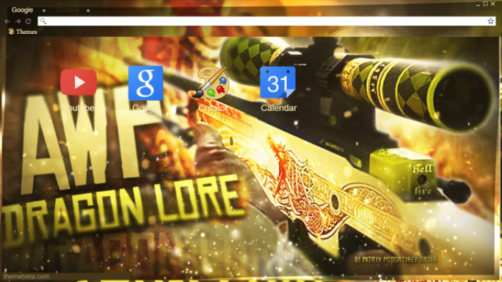 AWP Dragon Lore Chrome Theme - ThemeBeta