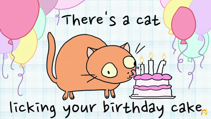 There's A Cat Licking Your Birthday Cake Chrome Theme