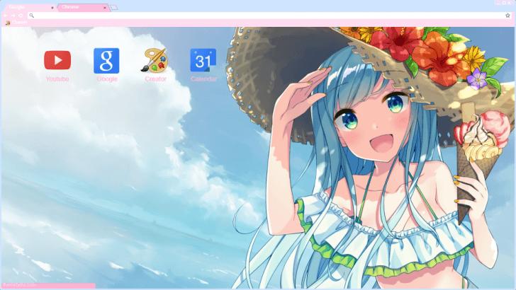Beach anime girl chrome theme themebeta - Beach anime girl ...