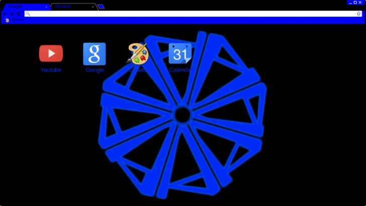 Black and Blue Wheel Glowing Chrome Theme - ThemeBeta