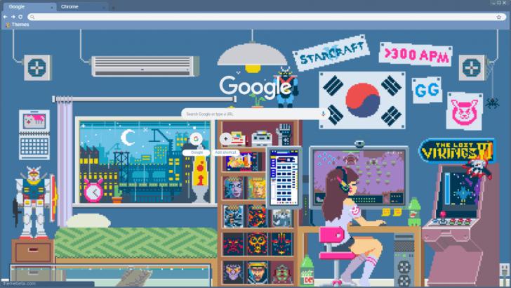 Pixel Art Gaming Room Chrome Theme Themebeta