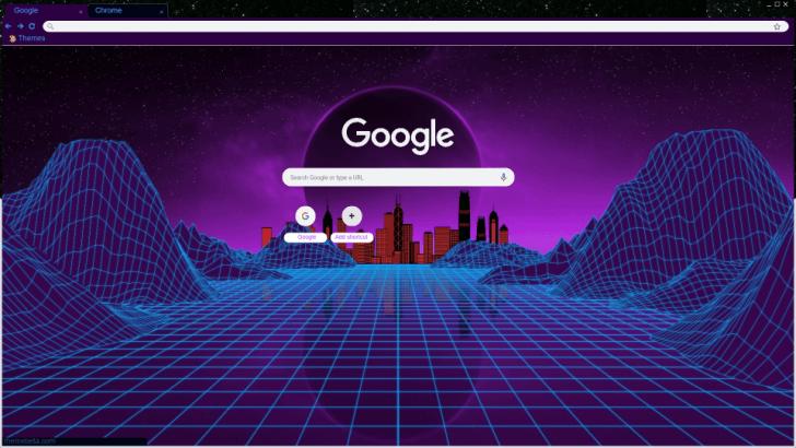 Retrowave City Chrome Theme - ThemeBeta