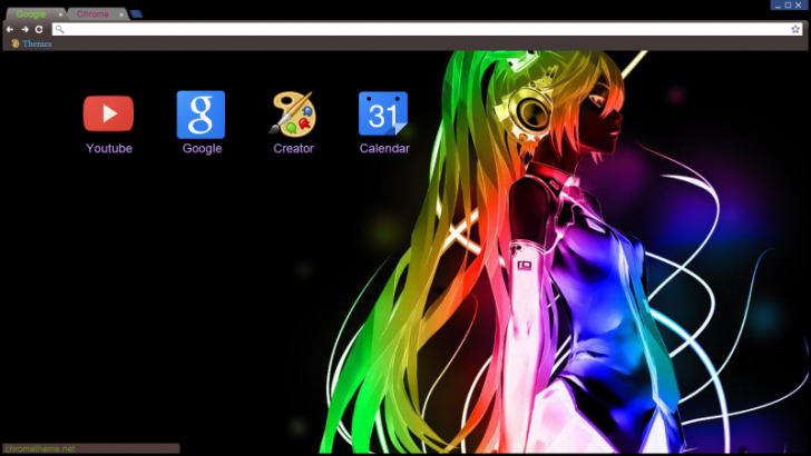 Colourful anime girl abstract chrome theme themebeta - Abstract anime girl ...