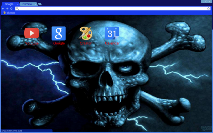 Blue Skull and Crossbones Chrome Theme - ThemeBeta